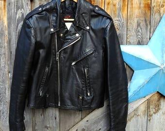 1970's classic biker jacket, black leather, men's large