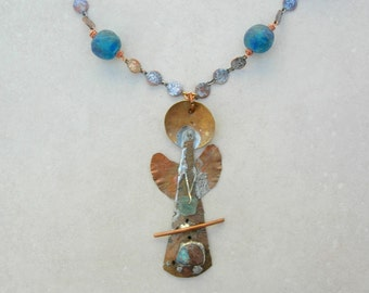 Angelicus, Giver of Protection, Pure Copper, Australian Bolder Opal, Roman Glass, Long Copper Chain, Recycled Ghanian Glass,by SandraDesigns