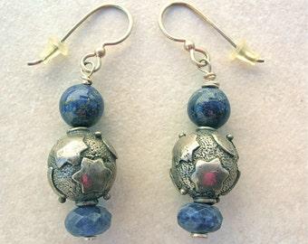 Blue Lapis & Sterling Silver Stars, Patriotic Look, Sterling Ear Wires, Earrings by SandraDesigns