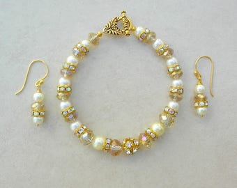 Pearl, Crystal & Rhinestone Bracelet, Matching Earrings, Wedding Bracelet, Dressy Bracelet Set by SandraDesigns, Other Optional Bracelet