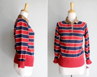 SALE SALE Vintage Nautical Striped Pullover Sweater- Red Blue 1970's Polo Long Sleeve Collar Henley Stripe- Size Small S
