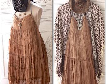 Med Crinkle boho backless sundress, Brown Mexicali Bohemian halter dress, Romantic gypsy spell dress, Music festival, True rebel clothing