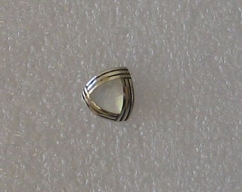 8mm  Mother of Pearl Triangle Vintage Sterling SINGLE  Post Earring