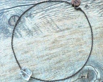 Feng Shui/Chakra Jewelry/Healing Stones - Clear Quartz Antiqued Copper Chain Necklace
