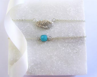 Silver Charm Bracelet,Chain Bracelet,Bracelet Set,Bridesmaid Gift Set,Turquoise Gemstone Bracelet,Silver Bracelet,Feather,Gift for her
