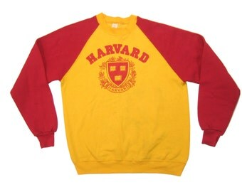 1970s Harvard Sweatshirt Vintage Retro Men's Red & Yellow 2-Tone Raglan 50/50 Crewneck Graphic Sweat Shirt Size Large