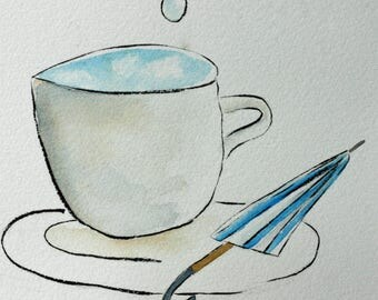 Clouds in my coffee original watercolor, grey, blue, sky, umbrella, whimsical, pen and ink, simple, children's art, coffee cup, square art