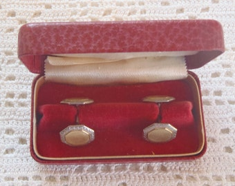 Vintage Cuff Links Double Octagonal Engine Turned Designs Original Box
