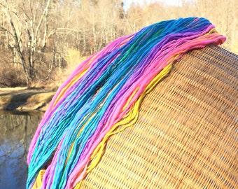 Rainbow yarn, handspun worsted weight  - 65 yards, 1 ounce, 28 grams