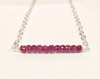 Genuine Ruby Necklace, Gemstone Bar Necklace, Red Necklace, Simple Jewelry, Tiny Necklace, Gemstone bar necklace