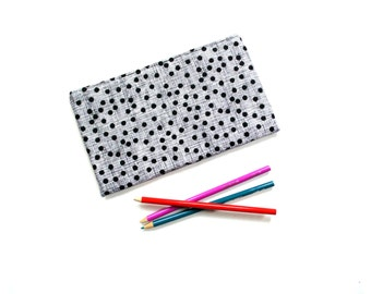 Zipper pouch, slim cosmetic bag, black and white modern cotton fabric, makeup case gift for her under 20, Mothers day