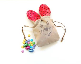 Easter egg hunt bag, pink polka dots, gift bag, drawstring pouch, Easter bunny bag, candy bag, egg bag basket filler, gift card holder