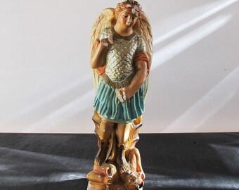 Archangel Michael Smiting the Devil Statue Chalkware Demon Magic Catholic Idol Worship 1920s Lucifer Satan