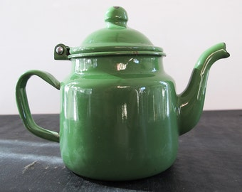 Teapot Green Enamel Single Miniature Toy Camping 1930s