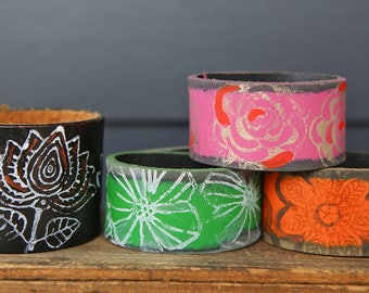 CUSTOM HANDSTAMPED CUFF - bracelet - personalized by Farmgirl Paints -  Color Me Happy handpainted stamped leather cuffs