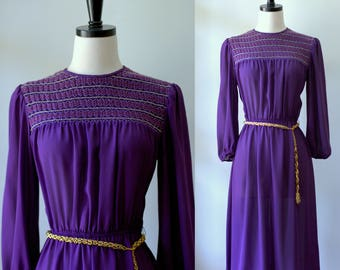 70s Dress Vintage Purple Dress Disco Clothes Womens Midi Dress 1970s Clothing Womens Smocked Dress Semi Sheer 70s Clothes Small
