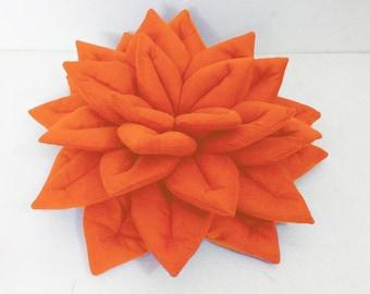 orange decorative Lotus flower velvet pillow-flower pillow-home decor-16x16-throw pillow,yoga pillow