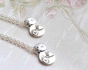 Best friend necklace set of 2, 3 Pinky Promise Necklace Friendship jewelry Personalized Bridesmaid jewelry BFF Best Friend gifts set 2, 3