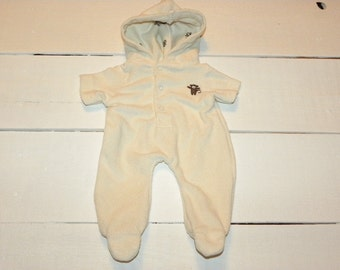 Cream Colour Terry Hooded and Footed Sleeper - 14 - 15 inch boy doll clothes