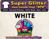 White Super Glitter  HTV Heat transfer thermal press vinyl, T- Shirt film Great for Cheer Bows crafts or sign cutter Pick your size