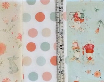 Bunny Tales nursery cotton quilt fabric 6 fat quarters bundle each 50cm x 55m