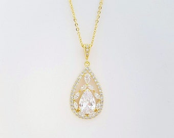 Gold Cubic Zirconia Pendant Bridal Necklace Gold Wedding Jewelry Teardrop Pendant Bridal Jewelry, Essy