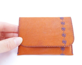 Leather Business Card Holder / Leather Wallet / Orange Leather and Vintage Lining / Purple Embroidery Flowers