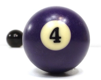 vintage 70s pool ball number 4 four purple resin billiard collectible object decorative home decor altered art game room men modern retro
