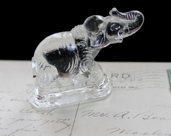 Vintage Clear Pressed Glass Elephant , Miniature