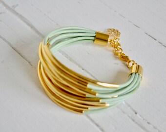 Light Mint Leather Cuff Bracelet with Gold Tube Beads - Multi Strand Bangle Women's Bracelet... by BALOOOS STUDIO