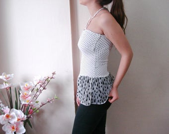 Polka dot Lace shirt extender, Crop Top Strapless Clothing, Black Rain Lace Top Extender, dotted Slip Extender Tube Top