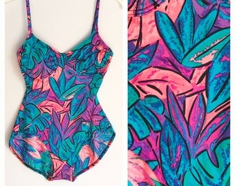80s pin up style swimsuit. Botanical one piece swim. Tropical. Wild loud print.