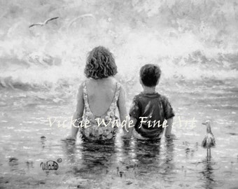 Sister Brother Beach Art Print, boy and girl, little brother big sister, brother and sister, ocean, siblings, sitting,  Vickie Wade Art