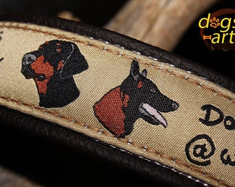 "Dog Collar ""Dogs @ work"" by dogs-art, martingale collar, brass dog collar,  leather dog collar, doberman collar, leather slip collar, collar"