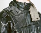 Swedish Military Motorcycle Jacket 1930s . Dispatch RIDERS COAT Men's Leather Bike Jacket Pullover Rare Black Moto Coat . size XL
