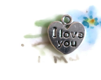 "Vintage Heart Charm Valentines Day Silver Tiny I LOVE YOU Two Sided 1/2"". #1368H"