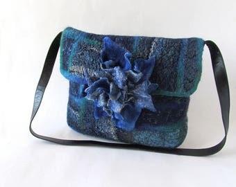 Crossbody bag Blue Felted Messenger bag  Original  bag Felted  handbag  felt purse Jeans patchwork bag