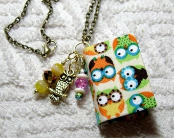 Handmade Book Necklace - Book Jewelry - Book Pendant - Handmade Book -  Owl Fabric - BN-189