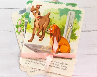 Vintage Children's Book Pages  / Lady and The Tramp / Old Book Pages