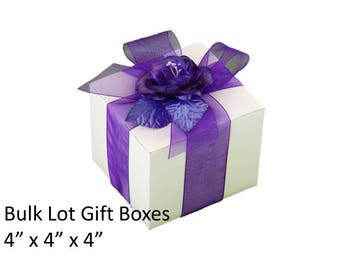 "4"" x 4"" White Gift Boxes - 10 Boxes Bulk Lot - Wedding Party Gift Boxes, Anniversary Party Gift Boxes"