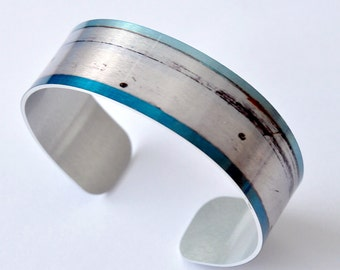 Aquamarine - Aluminum THIN Cuff Bracelet - Photography - Handmade - Unique Gift - Stackable - Band Bracelet - Natural Gift - Wearable Art!