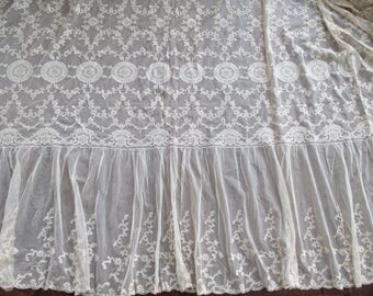 French Net Lace Bedspread Coverlet 1920's Never Used