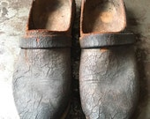 Antique Leather and Wooden Clogs - Danish, Relic, Decor