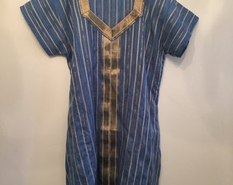 20% OFF SALE Blue Cotton Bohemian Indian Tunic • Indian Long Tunic • Vintage Striped Tunic Top • Bohemian Top • Boho Tunic • Indian Hippie T