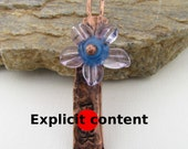Handmade Copper pendant with spinning Flower.
