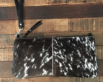 Black and White Spotted Hair on Hide  Convertible Wristlet