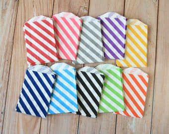 100pcs small Candy Stripe paper bags Itty Bitty Bags