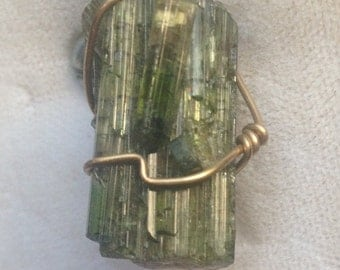 Green Tourmaline Wire Wrapped Pendant with Gold-Filled Wire