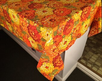 "Vintage 60's Gold and Orange Floral Tablecloth 58"" x 99"""