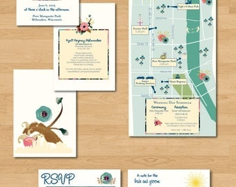 Floral Watercolor Tri-Fold Wedding Invitation Suite with Map - Listing for Kim